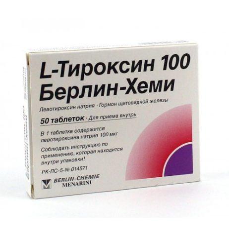 На фото – популярный препарат для заместительной гормональной терапии L-тироксин. Средняя цена – 140 р. за 100 таблеток.
