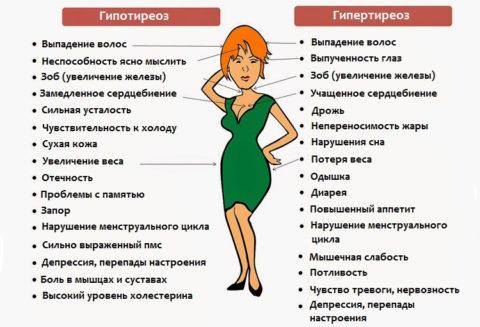 Симптомы патологий щитовидной железы