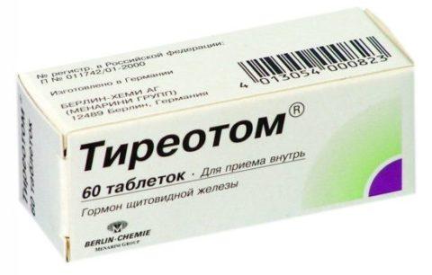Тиреотом- фиксированная комбинация тиреоидных гормонов.