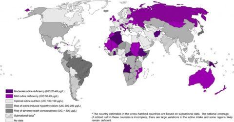 Фиолетовым и сиреневым цветом на фото отмечены регионы с недостаточным поступлением йода с пищей
