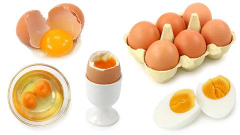 Сырые и вареные куриные яйца