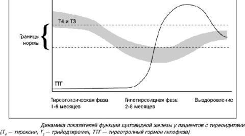 Изменение уровня гормонов при течении аутоиммунного тиреоидита